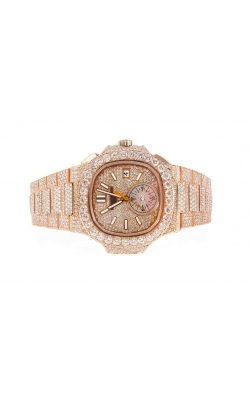 CUSTOM MADE PATEK PHILIPPE NAUTILUS 5980 ROSE GOLD 44MM FULLY ICED OUT DIAMONDS AND DIAMOND DIAL  product image