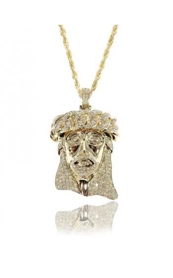 DIAMOND JESUS HEAD (SOLID BACK)