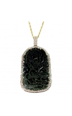 NATURAL HETIAN JADE HAND-CARVED DRAGON PENDANT product image